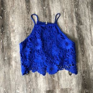 Royal Blue Floral Tank Top
